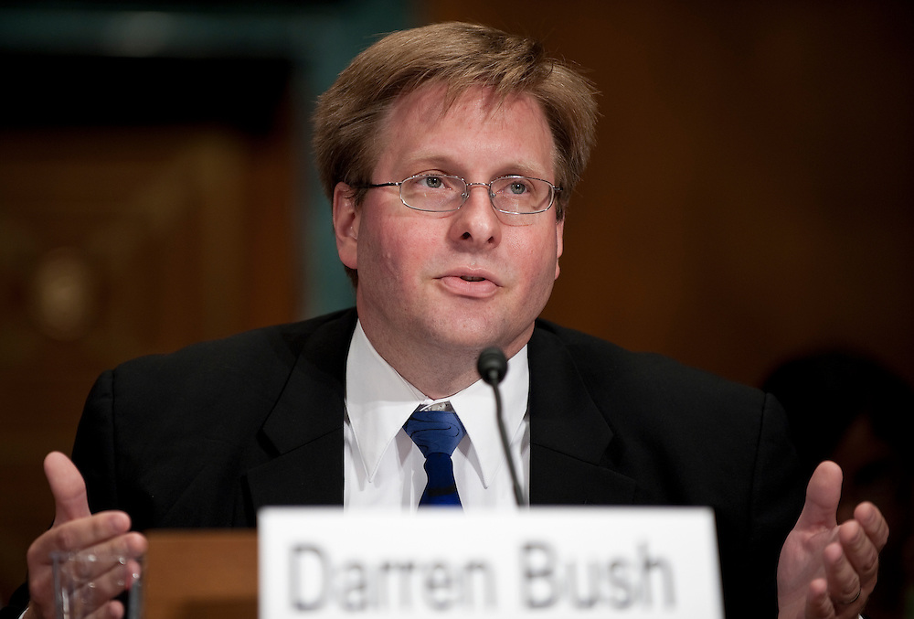 May 27, 2010 - Washington, District of Columbia, U.S., - Darren Bush, associate professor of law at the University of Houston Law Center, Houston, testifies before a Senate Judiciary Committee Hearing on the United and Continental Airlines Merger. .(Credit Image: © Pete Marovich/ZUMA Press)