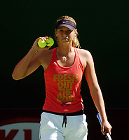 Melbourne  Australian Open  14.01.2006<br />Maria  Sharapova  (RUS) practices on Vodafone Arena court today in preparation for Australian open which begins Monday next<br />Photo Roger Parker Fotosports International