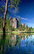 A flooded meadow reflects the early morning light illuminating Cathedral Spires in Yosemite National Park, California.