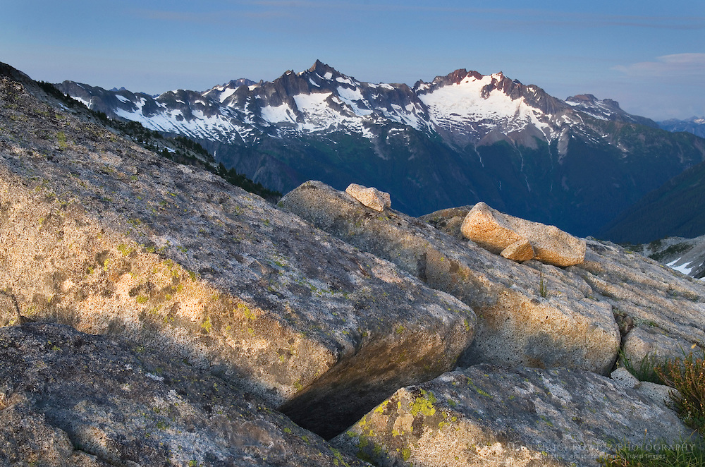 Forbidden and Boston Peaks from Hidden Lake Peak, North Cascades