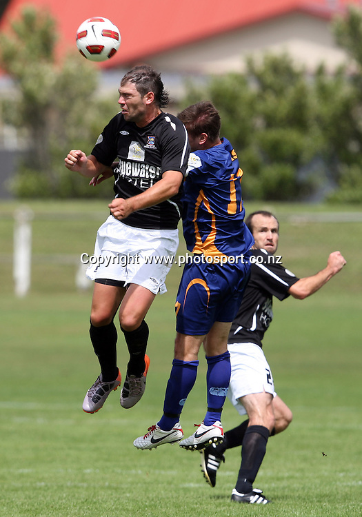 Cole Peverley climbs high to head the ball.<br /> ASB Premiership Football - Otago United v Hawke's Bay United, 23 January 2011, Tahuna Park, Dunedin, New Zealand.<br /> Photo: Rob Jefferies / www.photosport.co.nz