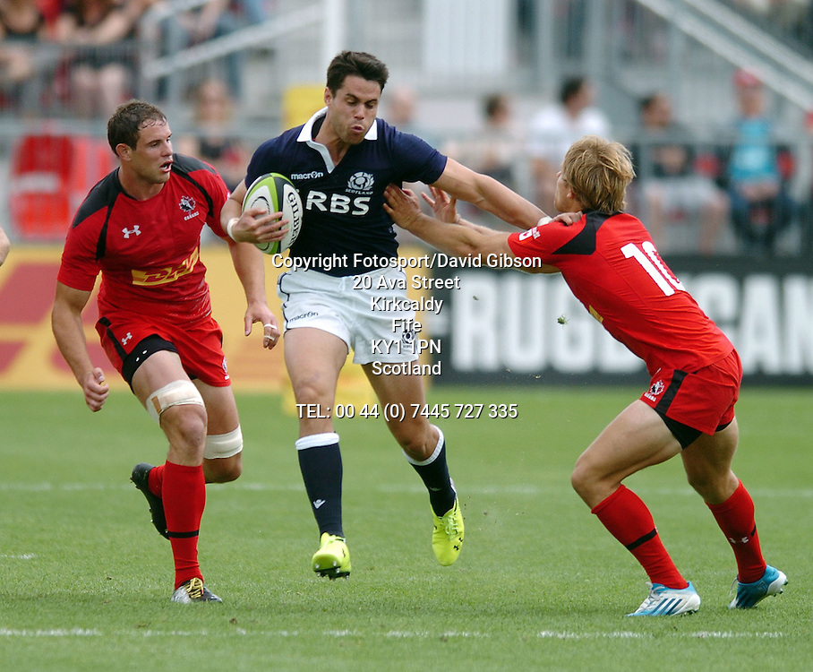 Sean Maitland - Scotland winger hands off Canada fly half Harry Jones (10). <br /> Canada v Scotland, rugby union, BMO Field, Toronto, Ontario, Canada, Saturday 14 June 2014.<br /> Please credit: ***Fotosport/David Gibson***