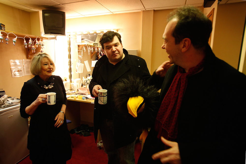 Snow White at The Kings - Photo Essay<br /> Dressing Rooms<br /> <br /> Barbara Rafferty, Stephen McNicoll and Gavin Mitchell get their morning Cuppa.