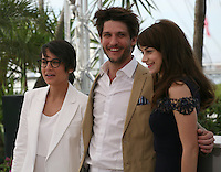 Director, Chloé Robichaud, actor, Jean-sébastien Courchesne, and, actress, Sophie Desmarais, at the 'Sarah Prefere La Course' (Sarah Would Rather Run) film photocall at the Cannes Film Festival Tuesday 21 May 2013