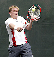Arthur Peller, from Cincinnati competes in the first set of the finals in the 41st Weston Memorial Tennis Tournament at the Virginia Hollinger Memorial Tennis Club, Monday, May 26, 2008.  Peller went on to win 6-4, 6-1..