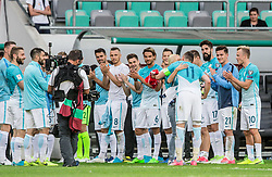 Milivoje Novakovic of Slovenia with his wife and other players after he played his last match in his career after football match between National teams of Slovenia and Malta in Round #6 of FIFA World Cup Russia 2018 qualifications in Group F, on June 10, 2017 in SRC Stozice, Ljubljana, Slovenia. Photo by Vid Ponikvar / Sportida