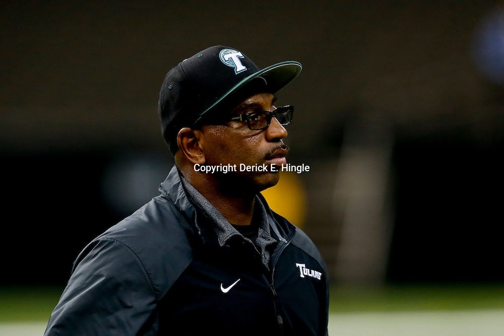 Oct 5, 2013; New Orleans, LA, USA; Tulane Green Wave head coach Curtis Johnson against the North Texas Mean Green during the second half at Mercedes-Benz Superdome. Tulane defeated North Texas 24-21.Mandatory Credit: Derick E. Hingle-USA TODAY Sports