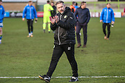 Forest Green Rovers assistant manager, Scott Lindsey applauds the fans at the end of the match during the EFL Sky Bet League 2 match between Forest Green Rovers and Notts County at the New Lawn, Forest Green, United Kingdom on 10 March 2018. Picture by Shane Healey.