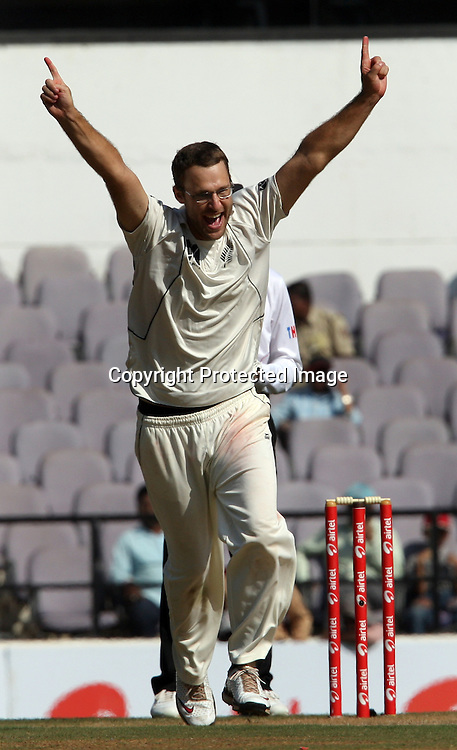 New Zealand bowler Daniel Vettori celebrates Indian batsman Suresh Raina wicket during the 3rd test match India vs New Zealand day-3 Played at Vidarbha Cricket Association Stadium, Jamtha, Nagpur, 22, November 2010 (5-day match)