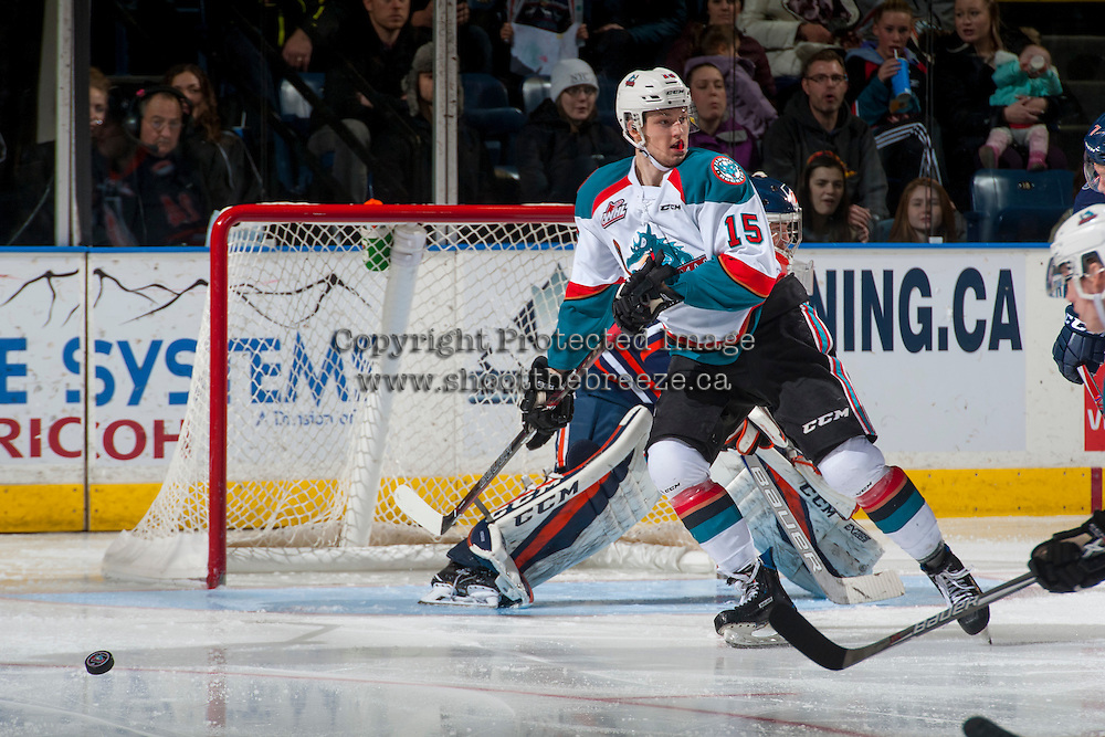 KELOWNA, CANADA - JANUARY 7: Tomas Soustal #15 of the Kelowna Rockets skates against the Kamloops Blazers on January 7, 2017 at Prospera Place in Kelowna, British Columbia, Canada.  (Photo by Marissa Baecker/Shoot the Breeze)  *** Local Caption ***