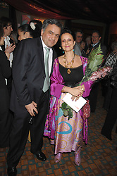 COUNTESS CAROLINDA TOLSTOY-MILOSLAVSKY and MR BALDASSARE LA RIZZA at a party for Countess Carolinda Tolstoy-Miloslavsky held at The Arts Club, 40 Dover Street, London on 15th April 2008.<br />