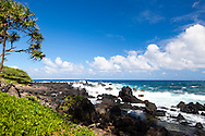 Maui, Hawaii.  The Keanae Peninsula where rough, black lava meets the gorgeous, blue ocean.  Home to a small community of Taro farmers.
