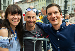 Mateja Sprohar, Marko Polanc and Jan Polanc during reception of best Slovenian riders after Giro d'Italia 2019 and Tour of California 2019, on June 3rd, 2019, in Mestni trg, Ljubljana, Slovenia. Photo by Vid Ponikvar / Sportida