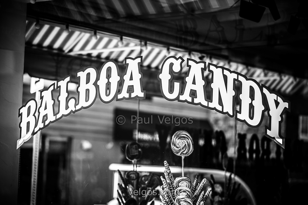 Balboa Candy sign black and white picture. Balboa Candy is a popular old fashioned candy store on Balboa Island in Newport Beach, Orange County, California.