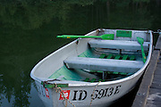 A vintage aluminum boat with bright green contrasting paint, docked on Round Lake, Sagle, Idaho, USA. . PLEASE CONTACT US FOR DIGITAL DOWNLOAD AND PRICING.