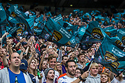 NFL fans wave the Jacksonville Jaguars flags during the International Series match between Baltimore Ravens and Jacksonville Jaguars at Wembley Stadium, London, England on 24 September 2017. Photo by Jason Brown.