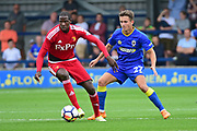 AFC Wimbledon Midfielder Lewis Mahoney (27) defends during the Pre-Season Friendly match between AFC Wimbledon and Watford at the Cherry Red Records Stadium, Kingston, England on 15 July 2017. Photo by Jon Bromley.