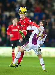 CARDIFF, WALES - Tuesday, February 11, 2014: Cardiff City's Mats Moller Daehli in action against Aston Villa's Ashley Westwood during the Premiership match at the Cardiff City Stadium. (Pic by David Rawcliffe/Propaganda)