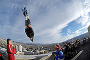 Jesse Hall launches a double backflip ski BASE jump off the roof of the Silver Legacy hotel casino in downtown Reno, Nev., Saturday Nov. 17, 2007. The stunt was to promote the local premier of the 2007 Warren Miller ski movie Playground and to raise money for the Make-a-Wish foundation, which helps make wishes come true for seriously ill children.