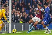 Goal Aston Villa midfielder Trezeguet (17) scores a goal 1-1 during the Premier League match between Chelsea and Aston Villa at Stamford Bridge, London, England on 4 December 2019.