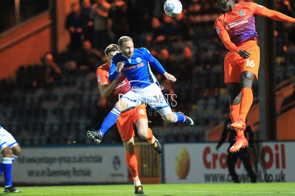Matty Done wins a header during the EFL Sky Bet League 1 match between Rochdale and Northampton Town at Spotland, Rochdale, England on 17 October 2017. Photo by Daniel Youngs.