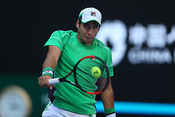 BEIJING, Oct. 3, 2018  Dusan Lajovic of Serbia returns the ball during the men's singles second round match against Grigor Dimitrov of Bulgaria at China Open tennis tournament in Beijing, China, Oct. 3, 2018. Dusan Lajovic won 2-1. (Credit Image: © Song Yanhua/Xinhua via ZUMA Wire)