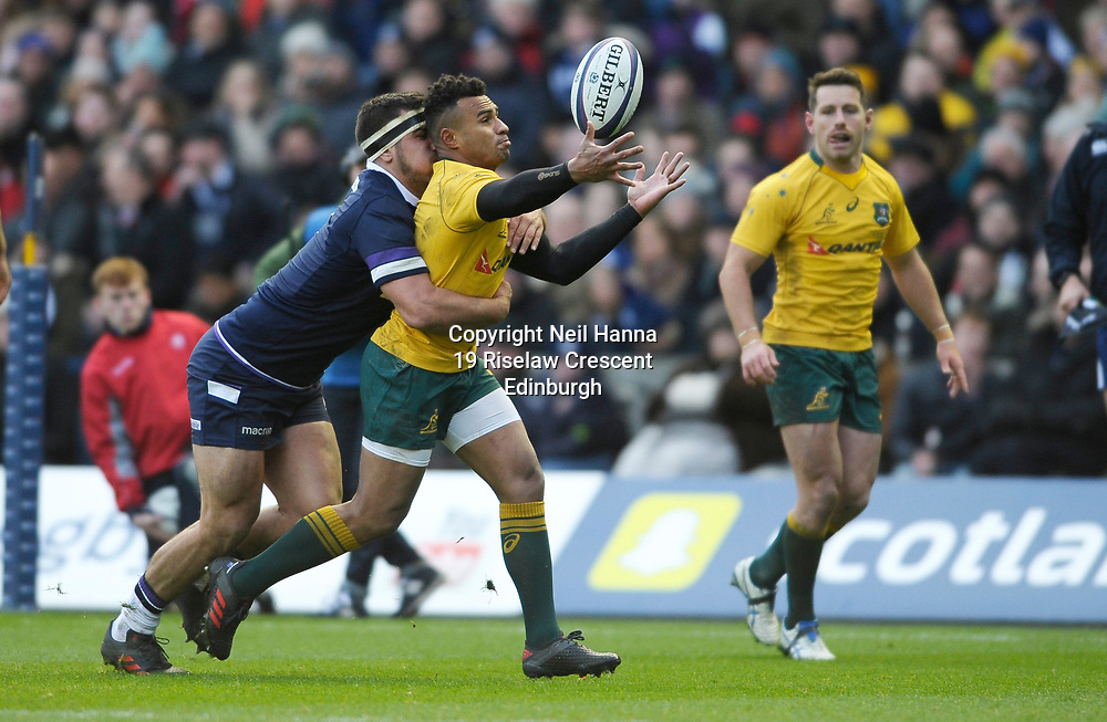 No Sales, Syndication or Archive <br /> <br /> Autumn Tests<br /> Scotland v Australia Saturday 25th November 2017, BT Murrayfield, Edinburgh.<br /> <br /> Stuart McInally of Scotland and Will Genia of Australia<br /> <br /> <br />  Neil Hanna Photography<br /> www.neilhannaphotography.co.uk<br /> 07702 246823