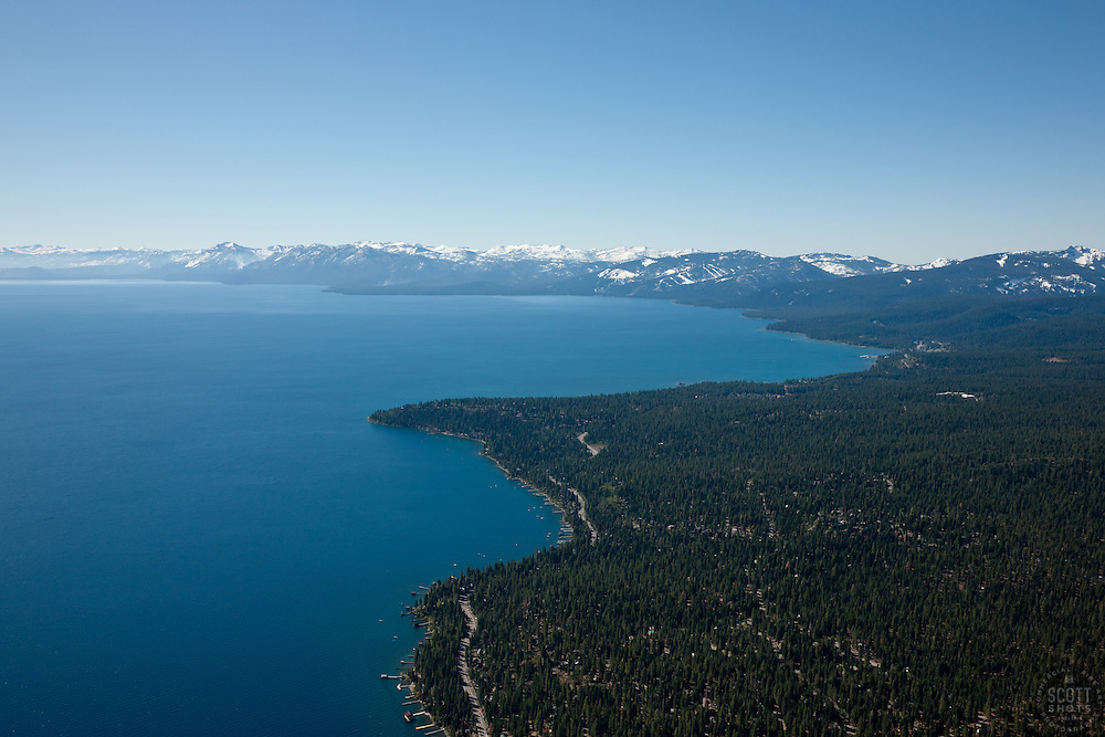 """Lake Tahoe Aerial 2"" - Photograph of Lake Tahoe along the West shore. Shot from an amphibious seaplane with the door removed."