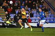 Crewe Alexandra midfielder Arthur Gnahoua challenged by Macclesfield Town defender David Fitzpatrick during the EFL Sky Bet League 2 match between Macclesfield Town and Crewe Alexandra at Moss Rose, Macclesfield, United Kingdom on 21 January 2020.