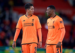 STOKE-ON-TRENT, ENGLAND - Wednesday, November 29, 2017: Liverpool's Roberto Firmino and Georginio Wijnaldum after the FA Premier League match between Stoke City and Liverpool at the  Bet365 Stadium. (Pic by David Rawcliffe/Propaganda)