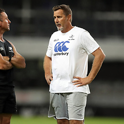 Johan Pretorius Head Strength & Conditioning Coach with Robert du Preez (Head Coach) of the Cell C Sharks during The Cell C Sharks Captain Run at Growthpoint Kings Park in Durban, South Africa. 17th March 2017(Photo by Steve Haag)<br /> <br /> images for social media must have consent from Steve Haag