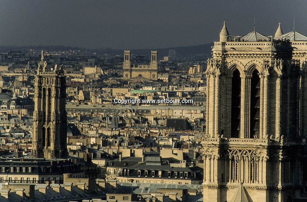 France. Paris. 5th district. Elevated view.  view on Paris from Clovis tower (remaining of the old church)
