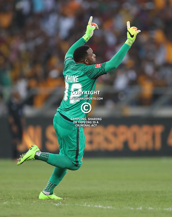 DURBAN, SOUTH AFRICA - FEBRUARY 18: Itumeleng Khune G/K of Kaizer Chiefs after his teams 1st goal during the Absa Premiership match between Kaizer Chiefs and Highlands Park at Moses Mabhida Stadium on February 18, 2017 in Durban, South Africa. (Photo by Steve Haag/Gallo Images)