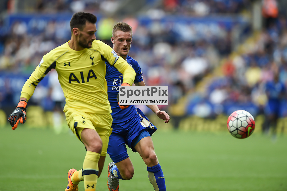 Hugo Lloris comes a long way out of his area to clear the danger from Jamie Vardy (c) Simon Kimber | SportPix.org.uk