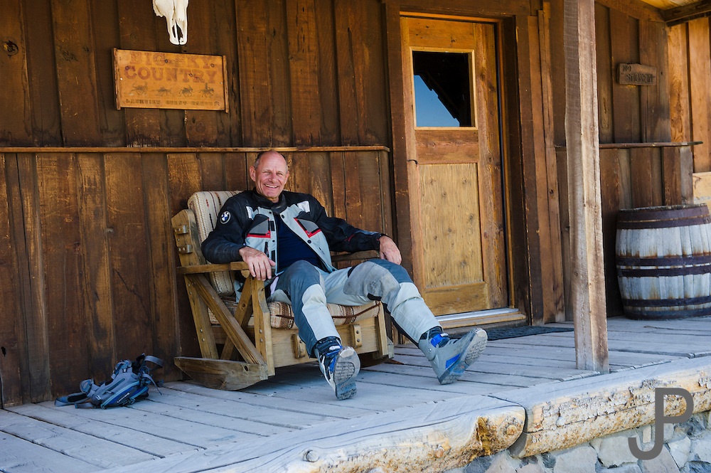 BMW Mottorad North America VP Pieter de Waal relaxing at a ghost town