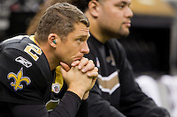 28 November 2011: Kicker (2) John Kasay of the New Orleans Saints sits on the bench against the New York Giants during the first half of the Saints 49-24 victory over the Giants at the Mercedes-Benz Superdome in New Orleans, LA.