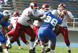12 October 2002: Clay Guillaume does his best to protect Travis Turner. Eastern Illinois University Panthers host and defeat the Colonels of Eastern Kentucky during EIU's Homecoming at Charleston Illinois.