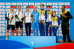 Podium for the Mens Synchronised 3m Springboard Final. L-R Silver medallists Freddie Woodward and Jack Haslam from City of Sheffield Diving Club, Gold medallists Ross Haslam from City of Sheffield Diving Club and James Heatly from Edinburgh Dive Club, Bronze Medallists Matty Lee and Anthony Harding from City of Leeds Diving Club, and Guest Bronze Medallists James Denny and Yona Knight-Wisdom (Guest) from City of Leeds Diving Club  - Mandatory byline: Rogan Thomson/JMP - 10/06/2016 - DIVING - Ponds Forge - Sheffield, England - British Diving Championships 2016 Day 1.