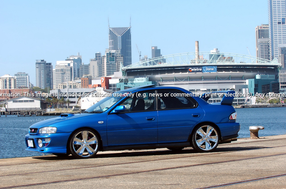 Modified 2000 MY00 Subaru Impreza WRX - WR Blue.Shot on location in Port Melbourne.28th February 2005.(C) Joel Strickland Photographics.Use information: This image is intended for Editorial use only (e.g. news or commentary, print or electronic). Any commercial or promotional use requires additional clearance.