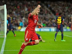 01.05.2013, Fussball Champions League Halbfinale Rückspiel: FC Barcelona - FC Bayern München, im Stadion Nou Camp in Barcelona, Spanien. Torjubel Franck Ribery (München).