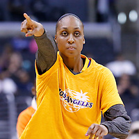 25 May 2014: Los Angeles Sparks forward/center Sandrine Gruda (7) warms up prior to the Los Angeles Sparks 83-62 victory over the San Antonio Stars, at the Staples Center, Los Angeles, California, USA.