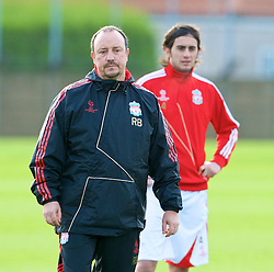 LIVERPOOL, ENGLAND - Tuesday, December 8, 2009: Liverpool's manager Rafael Benitez with Alberto Aquilani during a training session at Melwood ahead of the UEFA Champions League Group E match against AFC Fiorentina. (Pic by David Rawcliffe/Propaganda)
