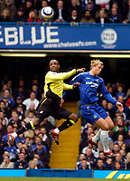 Photo: Alan Crowhurst.<br />Chelsea v Manchester City. The Barclays Premiership. 25/03/2006. David Sommeill (L) and Chelsea's Eidur Gudjohnsen jump high for the ball.