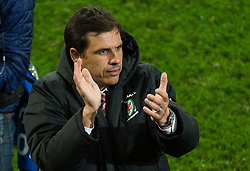 CARDIFF, WALES - Tuesday, November 14, 2017: Wales' manager Chris Coleman reacts after the international friendly match between Wales and Panama at the Cardiff City Stadium. (Pic by Peter Powell/Propaganda)