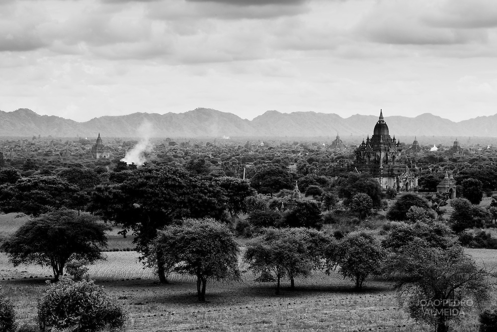 The plains around Bagan temples. The stupas of Bagan standing above the plains.
