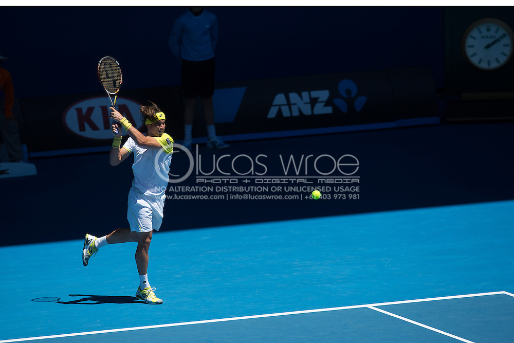 David Ferrer (ESP). Day 8. Round 4. Melbourne Olympic Park, Melbourne, Victoria, Australia. 22/01/2013. Photo By Lucas Wroe