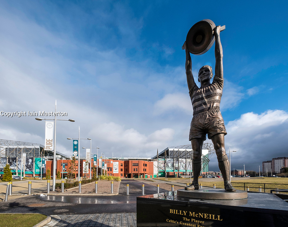 Statue of Billy McNeil outside Celtic Park home of Celtic Football Club in Parkhead , Glasgow, Scotland, United Kingdom