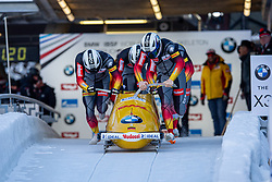 19.01.2020, Olympia Eiskanal, Innsbruck, AUT, BMW IBSF Weltcup Bob und Skeleton, Igls, Bob Viersitzer, Herren 1. Lauf, im Bild Pilot Nico Walther mit Kevin Korona, Eric Franke, Paul Krenz (GER) // Pilot Pilot Nico Walther mwith Kevin Korona Eric Franke Paul Krenz of Germany in action during their 1st run of four-man Bobsleigh competition of BMW IBSF World Cup at the Olympia Eiskanal in Innsbruck, Austria on 2020/01/19. EXPA Pictures © 2020, PhotoCredit: EXPA/ Peter Rinderer