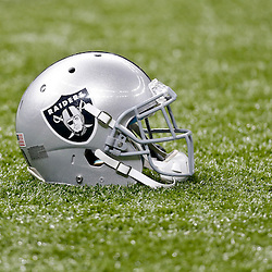 Aug 16, 2013; New Orleans, LA, USA; A detail of a Oakland Raiders helmet on the field before a New Orleans Saints during a preseason game at the Mercedes-Benz Superdome. Mandatory Credit: Derick E. Hingle-USA TODAY Sports