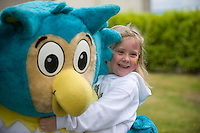 Emer Carew from Lattin Cullen Co. Tipperary with OLTAN , HSE Comunity Games mascot  at the HSE Community Games National finals 2010 held at the AIT, (Athlone Institute of Technology). Photo:Andrew Downes.